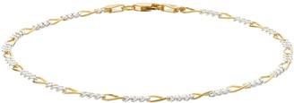 Primavera Two Tone 24k Gold Over Silver Figaro Chain Bracelet