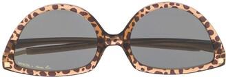 Martine Rose Leopard Print Cat-Eye Frame Sunglasses
