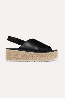 Vince Jesson Leather Espadrille Platform Sandals - Black