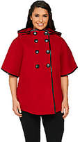 Centigrade Button Front Cape with Faux LeatherTrim