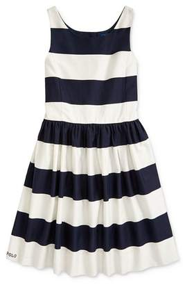 Ralph Lauren Girls' Striped Fit-and-Flare Dress - Big Kid