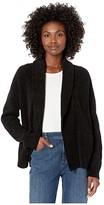 Eileen Fisher Organic Cotton Chenille Shawl Collar Cardigan (Black) Women's Clothing