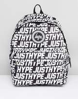 Hype Backpack In Black With Text Print