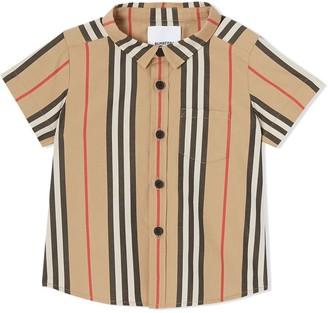 BURBERRY KIDS Short-sleeve Icon Stripe Cotton Poplin Shirt