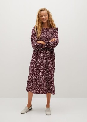 MANGO Ruffle printed dress black - 2 - Women