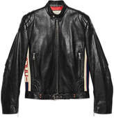 Gucci Leather jacket with stripe