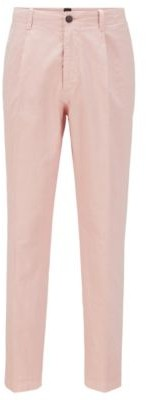 HUGO BOSS Relaxed Fit Pants In Garment Dyed Stretch Cotton - light pink