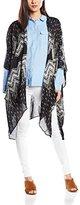 Deby Debo Women's Tie-Dye 3/4 Sleeve Cardigan - Black -
