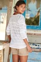 Next Womens White Knit Look Stripe Top - White