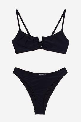 Nasty Gal Womens Play It Pool High-Leg Bikini Set - Black