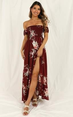 Showpo Lovestruck Maxi Dress in wine floral - 20 (XXXXL) Dresses