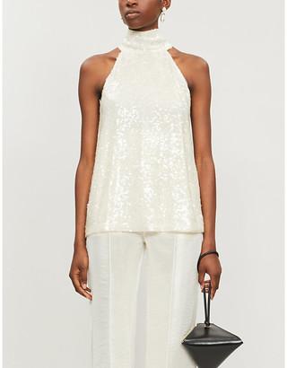 Galvan Moonlight sleeveless halter-neck sequins top