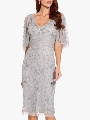 Adrianna Papell Beaded Cape Sleeve Dress, Silvermist