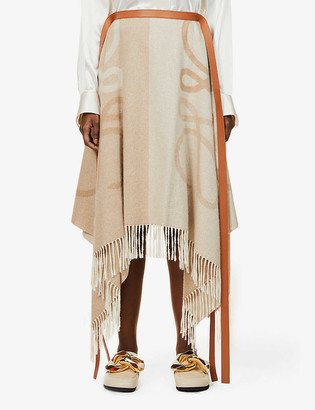 Loewe Anagram-pattern wool-cashmere blend midi skirt