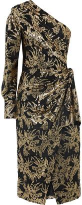 Altuzarra Chanda One-shoulder Silk-blend Brocade Midi Dress