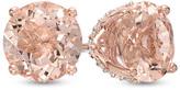 Zales 8.0mm Morganite and 1/6 CT. T.W. Diamond Stud Earrings in 14K Rose Gold