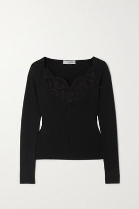 Valentino Lace-trimmed Ribbed-knit Top - Black