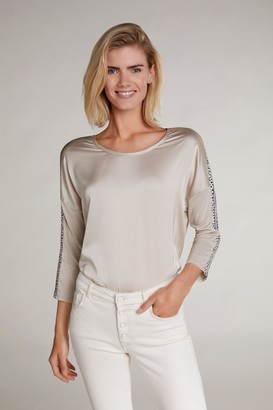 Oui 3 4 Spotty Sleeve T Shirt - Beige / 34