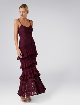 Forever New Shania Frill Lace Maxi - Wineberry - 6