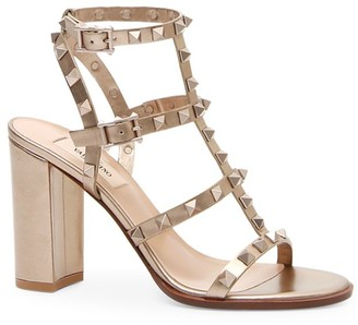 Valentino Rockstud Metallic Leather Cage Sandals