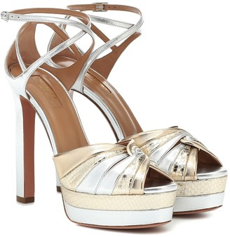 Aquazzura La Di Da Plateau 130 leather sandals