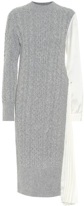 Sacai Wool and satin midi dress
