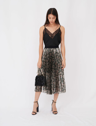 Maje Sequin pleated skirt