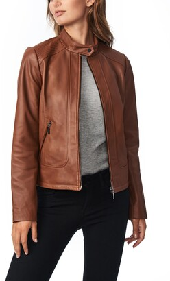 Bernardo Stitch Detail Sheepskin Leather Racer Jacket