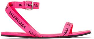 Balenciaga Pink Logo Strap Flat Sandals