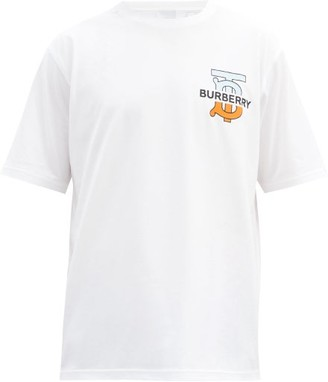 Burberry Ganther Logo-print Cotton-jersey T-shirt - White