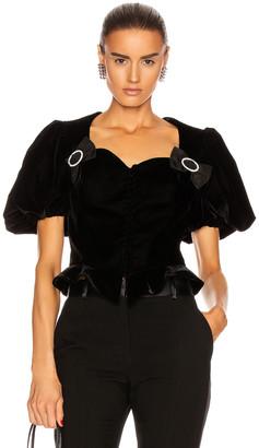 MARIANNA SENCHINA Velvet Corset Top in Black | FWRD