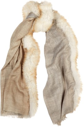 AMA Pure Sand Fur-trimmed Wool Scarf