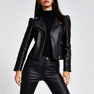 River Island Black faux leather puff sleeve biker jacket