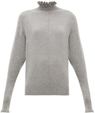 Chloé Ruffle-neck Cashmere Sweater - Womens - Grey