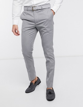 New Look pinstripe skinny suit trouser in grey