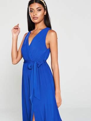 AX Paris Wrap Front Maxi Dress - Blue/Cobalt