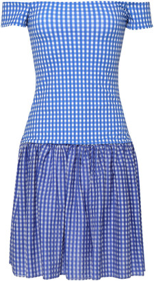 Caroline Constas Diumitra Off-the-shoulder Gingham Stretch-jersey Mini Dress