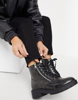 New Look faux snake lace up chunky boot in black