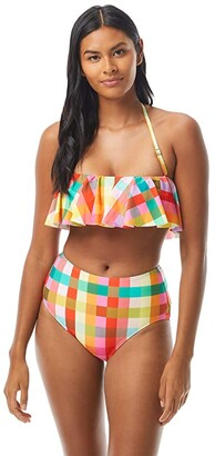 Kate Spade Garden Plaid Ruffle Bandeau Top w/ Removable Soft Cups and Strap (Multi) Women's Swimwear