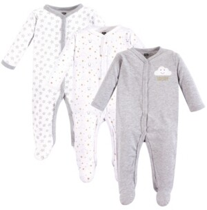 Hudson Baby Unisex Baby Coveralls/Union Suits and Sleep and Play, Gray Clouds Sleep N Play 3-Pack, 3-6 Months