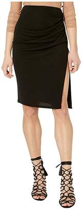 Yigal Azrouel High Split Draped Rayon Jersey Skirt
