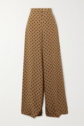 Michael Kors Collection Polka-dot Silk Crepe De Chine Wide-leg Pants - Beige