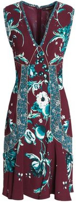 Roberto Cavalli Flared Metallic-trimmed Floral-print Crepe Dress