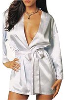 Rokou Women Sexy Satin Lingerie Kimono Robe Gown Sleepwear Nightgown with Belt