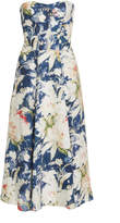 Ralph Lauren Dasha Strapless Floral-Print Linen-Blend Midi Dress