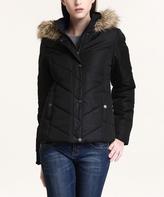 Black & Brown Faux Fur-Hood Puffy Jacket