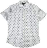 Banana Republic Men's Printed Standard Fit Short Sleeve Linen Blend Shirt White