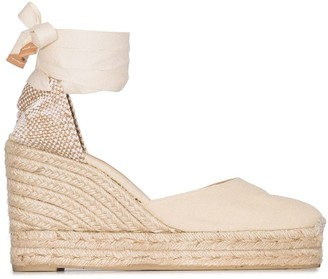Castaner cream Carina 80 ankle tie wedge sandals