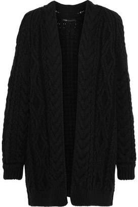 Maje Mouffle Cable-knit Wool-blend Cardigan