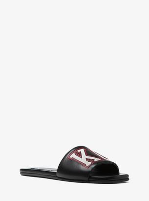 Michael Kors Delphine Kors Varsity Calf Leather Slide Sandal